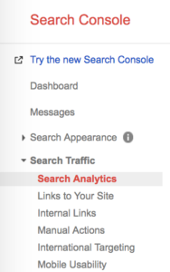 Google Search Console Sidebar